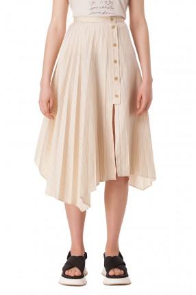 ACNE STUDIOS Асимметричная плиссированная юбка в полоску