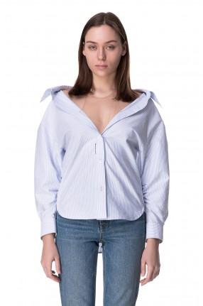 ALEXANDER WANG Рубашка в полоску с деталью из сетки