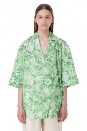 GANNI Рубашка на запах с принтом