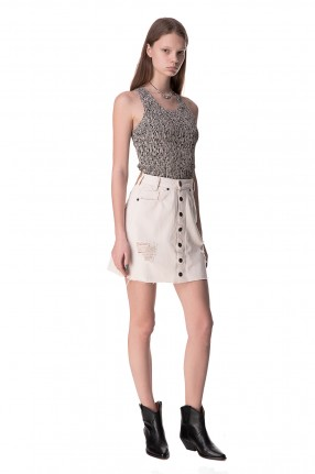 ONE TEASPOON Джинсовая юбка с эффектом потертостей