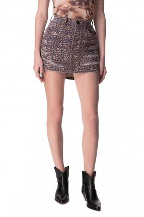 ONE TEASPOON Джинсовая юбка с принтом