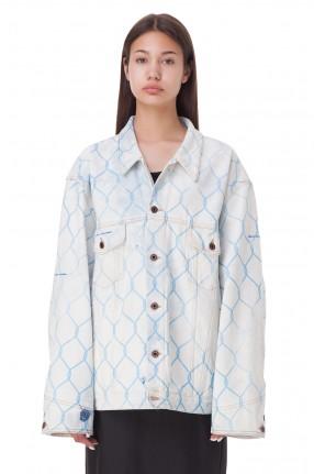 OFF-WHITE Джинсовая куртка oversize с принтом