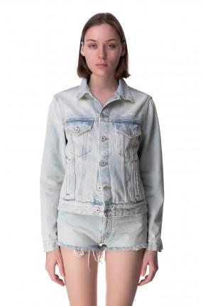 OFF-WHITE Джинсовая куртка с эффектом потертостей