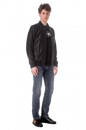 PHILIPP PLEIN Перфорированная кожаная куртка с логотипом