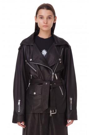 RAIINE Кожаная куртка-косуха oversize